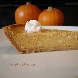 Pumpkin Cheesecake I Recipe - I'm glad my mother gave me this recipe. I think it's better than regular pumpkin pie, because it doesn't have a really strong pumpkin taste.