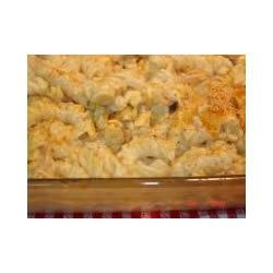 3-Cheese Pasta Bake Recipe - Tender corkscrew pasta is cloaked in a creamy mushroom sauce sporting flavors of three cheeses.