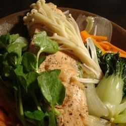 Miso-Citrus Poached Salmon with Vegetables