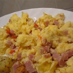 Richard's Breakfast Scramble Recipe - A quick and easy egg scramble featuring ham, cheese and vegetables.