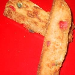 Candied Fruit Biscotti Recipe - A very festive cookie for the holidays.