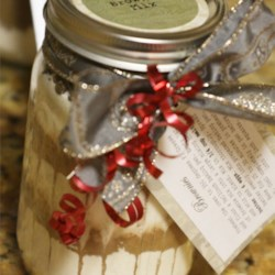 Brownie Mix in a Jar II Recipe - Adorable jars with decorative instruction tags are sure to please, and this delicious brownie mix is the perfect gift for any occasion. Have a baked batch handy when giving the jars so that everyone will know they're in for a treat!