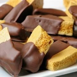 Angel Food Candy Recipe - This crunchy honeycomb candy is dipped in a chocolate coating.