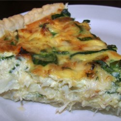 Crab and Swiss Quiche Recipe - Creamy quiche with Swiss cheese and imitation crab meat.