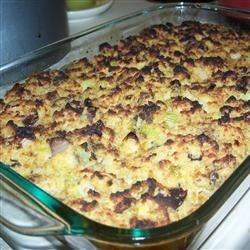 Oyster and Cornbread Dressing Recipe - Each year I am asked to make this wonderful dressing. The recipe has been in my family for years. Chopped oysters and chicken broth make it very moist and flavorful. For an even more moist dressing, use more chicken broth.