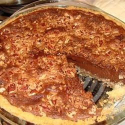Good Chocolate Pie Recipe -  Unsweetened cocoa gets a chance to shine in this marvelous pie. It 's stirred up with evaporated milk, eggs, butter, flour and cornstarch into a smooth, thick, and yummy filling. Chopped walnuts are sprinkled on top and the pie is baked until set and served chilled. This recipe yields two 9-inch pies.