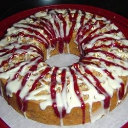 Saucy Cherry Cake Recipe - Delicious cake with sour cherries in it and cherry sauce on top.