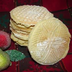 My Nancy's Pizzelles Recipe - A spicy pizzelle cookie for using with a pizzelle iron.