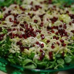 Winter Endive Salad Recipe - This very simple salad makes great use of heartier greens like endive and watercress and balances their bite with the sweetness of pomegranate.