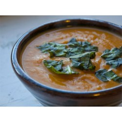 Thai Pumpkin Soup Recipe - This is a spicy Thai variety on our favorite pumpkin soup.  You can make it mild spicy or hot spicy by using different types of chilies.  Instead of the traditional sour cream, this recipe uses coconut cream.  Quick 'n' easy!