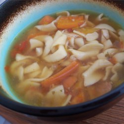 Slow Cooker Chicken and Noodles Recipe - This is a wonderfully easy soup to cook while at work or on a busy day! This can be 'soupy' with more broth; or sometimes I like to thicken the juice with a little water and cornstarch mixture and let cook till thick.  Then it is good served over mashed potatoes!  Enjoy!!