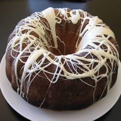 White Chocolate Pound Cake Recipe - A moist bundt cake, drizzled with two types of chocolate.