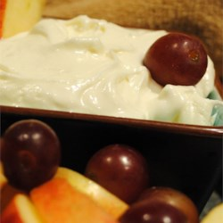 Creamy Fruit Dip Recipe - A sweet  rich and creamy dip for prepared fruit. Try serving with bananas, strawberries, kiwi or your favorite type of melon. Use toothpicks to skewer the fruit slices.