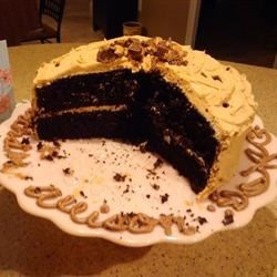 Dark Chocolate Fudge Cake with Fluffy Peanut Butter Frosting