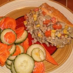 Vegetarian Shepherd's Pie I Recipe - Kasha, mushrooms, and bulgur take the place of meat in this mashed potato-topped shepherd's pie. Definitely a comfort food on a cold winter night!