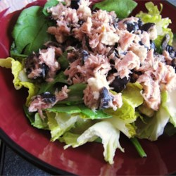Greek-Style Tuna Salad Recipe - Kalamata olives and feta cheese lend a taste of Greece to this tuna salad.