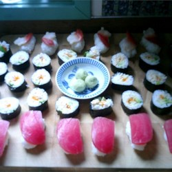 "sushi plate we made for our first ""Crabfest"" party"
