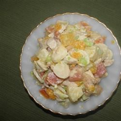 Tropical Chicken Salad Recipe - The choice of fruits for this delicious salad are wonderful - mango, pineapple, and mandarin orange. The mayonnaise/sour cream dressing has a splash of coconut extract which goes perfectly with the chicken, the fruit, and the tropical theme. Makes six servings.
