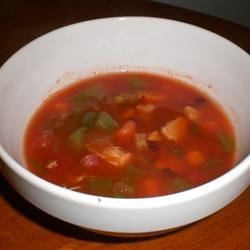 Hobart's Chicken and Red Bean Soup Recipe - Leftover cooked chicken and canned red beans are simmered with diced tomatoes and tomato sauce, broccoli and carrots in this quick soup.