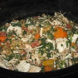 Scrumptious Chicken Vegetable Stew Recipe - This is a deliciously spiced low glycemic chicken stew that is full of vegetables and lentils.