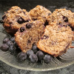 Blueberry apple banana whole grain seedy muffins