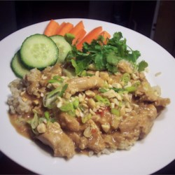 Slow Cook Thai Chicken Recipe - Slow cooked chicken breasts in a rich, peanutty, slightly spicy sauce.  Serve over rice.