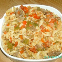 Daddy's Sausage and Peppers Recipe - This is a great recipe for anyone who loves bell peppers! My dad always made this for me when I was growing up... now I make it for my own family and get raves every time! Serve over pasta and with bruschetta for a full meal! Enjoy!