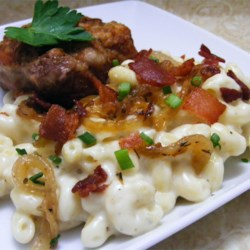 Macaroni and Cheese with Bacon and Onions Recipe - Macaroni and cheese is perfect supper food. It's a kids' favorite, and adults like it too. My recipe is simple and almost as quick as the boxed variety. Try this variation with bacon and caramelized onions.