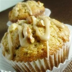 Banana Walnut Muffins with Maple Icing