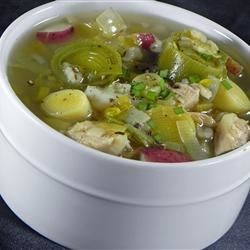 Cock a Leekie Soup Recipe - A traditional Scottish dish, this chicken and leek soup is flavored with thyme and thickened with barley.