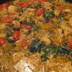 Sun-Dried Tomato Chicken Recipe - Chicken breast meat is browned, then simmered in a creamy sauce flavored with roasted red peppers, sun-dried tomatoes, and basil, and served over hot penne pasta for an elegant but easy main dish.