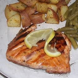 Grilled Salmon I with Roasted Red Potatoes and Green Beans