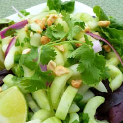 Thai Cucumber Salad Recipe - This sweet and tangy summer salad of cucumber, cilantro, and peanuts with just a hint of heat is always a hit at picnics and potlucks.