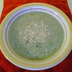 Cream of Broccoli Soup IV Recipe - Chicken broth, non-fat milk, and pureed broccoli form the base for this roux-thickened soup with blanched broccoli florets.