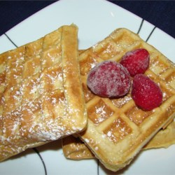 Rich Danish Waffles Recipe - This is a rich waffle recipe based on a Danish batter for aebleskivers.  It uses sugar and is wonderful and crisp.  We always freeze the extra waffles and the kids heat them during the week.  A minute in the microwave and a quick trip into the toaster renews the warmth and crispness anytime.