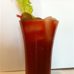 Spicy Bloody Mary Mix Recipe - With a nod to the famous 'bull shot' cocktail, this tasty bloody mary mix adds beef consomme for savory flavor. Drink it as is over ice or add vodka. Adjust the spices to your taste -- this version is spicy!