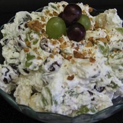 Grape Banana Salad Recipe - In this salad sliced bananas, grapes and walnuts are folded into real whipped cream.  Serve with breakfast, lunch, or at a Thanksgiving dinner.