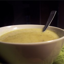 Spicy Soup Recipe - This is a creamy peanut butter soup with celery, broccoli and cauliflower cooked in chicken broth spiced with red pepper flakes and fresh garlic.