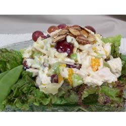 Wonderful Chicken Curry Salad Recipe - East meets West with this sensational chicken salad made with curry and chutney. For a fancy presentation, line a platter with red leaf lettuce, and top with cream puff shells that have been stuffed with salad (small shells for appetizers or large shell for main dish).