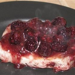 Pork Chops with Blackberry Port Sauce Recipe - Pork chops seem to call for a fruit sauce, so try something a little different than usual -- blackberries! They make a lovely sauce for the pork.