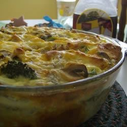 Mom's Breakfast Strata Recipe - This savory bread pudding combines grated Cheddar cheese, cubed ham, mushrooms, green peppers, and onions for a great make-ahead breakfast treat.