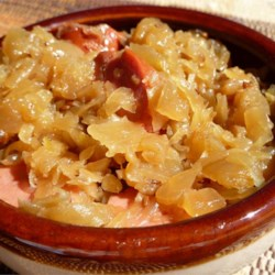 Judy's Sauerkraut Recipe - Sauerkraut is slow cooked with clove, bay leaf, and juniper berries. This dish is wonderful baked along with your main meat entree.