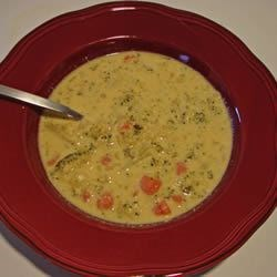 Cream of Broccoli Cheese Soup II Recipe - It's all in the title - broccoli, processed cheese and half-and-half go into this creamy soup.