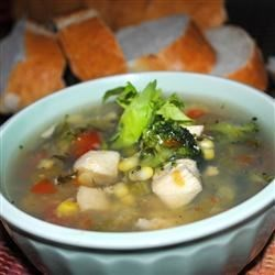 Meghan and Jenn's Veggie, Chicken and Herb Soup Recipe - This one-step soup is full of broccoli and chicken seasoned with basil, oregano, rosemary and a hint of garlic.