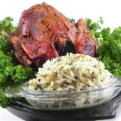 Buckshot Duck with Wild and Brown Rice Stuffing Recipe - Roasted duck is stuffed with a seasoned rice stuffing mixture.