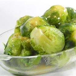 Brussels Sprouts in Mustard Sauce Recipe - A corn starch thickened mustard sauce adorns these Brussels Sprouts cooked in chicken broth.