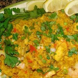 Paella with lemon