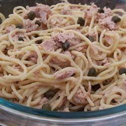 Tuna Piccata Pasta Salad Recipe - In this chilled pasta salad, chunked white tuna blends with Dijon mustard, mayonnaise, olive oil, and capers.