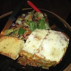 Missy's Lasagna Recipe - Mushrooms and bell peppers add extra appeal to a beefy tomato sauce, layered with noodles and a rich blend of mozzarella, cottage cheese, ricotta and bread crumbs. Sprinkle with more mozzarella and bake until beautifully bubbly.