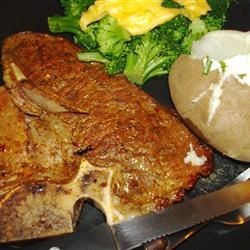 t bone steak, baked potato, broccoli with cheddar cheese sauce